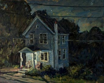 Front Porch Nocturne. 11x14 Realist Oil Painting, American Impressionist Night Scene North Adams Landscape, Signed Original Fine Art