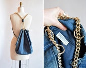 Vintage SAKS FIFTH AVE denim backpack w/chain straps