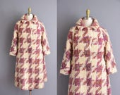 Lilli Ann 50s heavy woven mauve and ivory houndstooth coat. 1950s Lilli Ann vintage coat