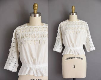antique lace blouse. 1910s white cotton eyelet Edwardian blouse