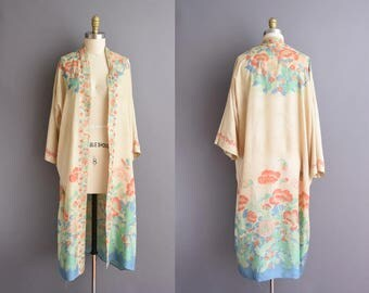 20s pongee silk floral kimono Poppy print antique robe 1920s antique tissue silk robe