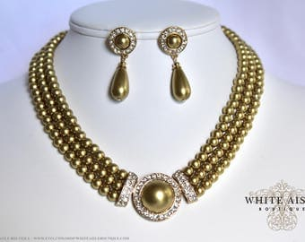 Gold Pearl Bridal Jewelry Set Crystal Multi Strand Wedding Necklace Earrings Vintage Inspired Prom Evening Pageant Jewelry