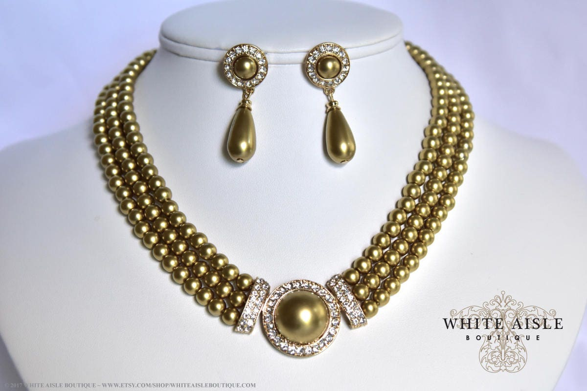 Gold Pearl Bridal Jewelry Set Crystal Multi Strand Wedding Necklace Earrings  Vintage Inspired Prom Evening Pageant