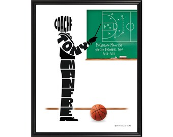 Personalized Basketball Coach Print, Custom Framed Silhouette Art, Gift for Coach