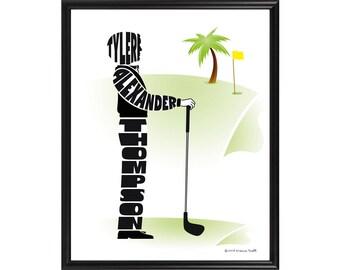 Personalized Golfer Print, Custom Framed Golf Artwork, Personalised Male Golfer Gift