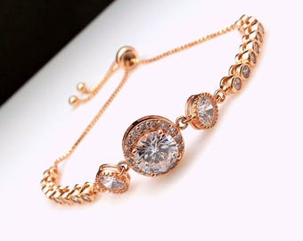 Wedding jewelry bridesmaid gift party prom christmas bridal bracelet round rose gold pave halo clear white cubic zirconia adjustable slider