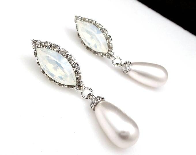 wedding jewelry bridal earrings bridesmaid gift prom ivory cream or white swarovski teardrop pearl swarovski white opal marquise rhinestone
