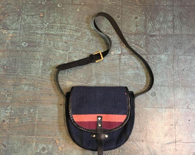 Featured listing image: Vintage 70s kilim tapestry blanket shoulder saddle bag purse