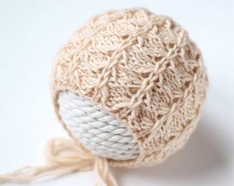 Knitting Pattern, Knit PDF Pattern,  Newborn Hat Pattern, PHOTO shoot prop,  Knit, Tutorial, PDF, Newborn hat, Arya Bonnet