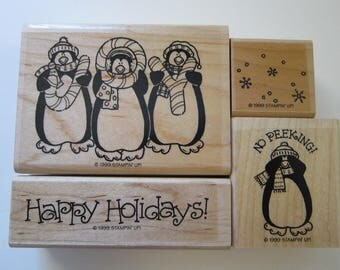 4 rubber stamps - PENGUINS holiday stamps - Stampin Up 1999