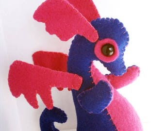 ON SALE Baby Dragon felt plush stuffed animal- Dark blue with hot pink