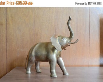 SALE 25% OFF vintage large brass elephant / good luck home decor / vintage brass home decor