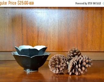 CIJ SALE 25% OFF vintage midcentury porcelain black lotus bowls / vintage breakfast bowls / halloween / mid century modern