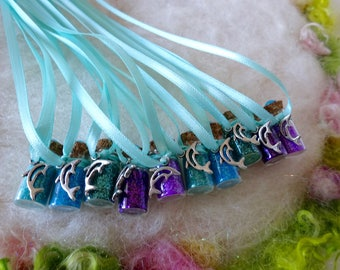 Dolphin Party Favors, 10 Purple Dolphin Party Favors Blue Ocean Beach Mermaid Party Thank You Gift Happy Birthday  Necklace