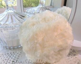 IVORY Powder Puff - big, soft powder duster - gift box option - 5 inch cream pouf creme - handmade by Bonny Bubbles