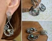 Wire wrapped opal earring, gemstone earring, elegant jewelry, dangle earring
