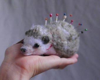 Hedgehog - PIN CUSHION - needle felted / vegan / art / sculpture / animal / felting / needlefelt / felted / needle point / sewing supplies