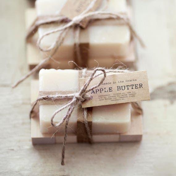 APPLE BUTTER Soap    Apple, Clove, Cinnamon Soap Bar, Moisturizing Soap, Bar Soap, Rustic Gift, Wedding Favor, Gift Set, Wooden Holder