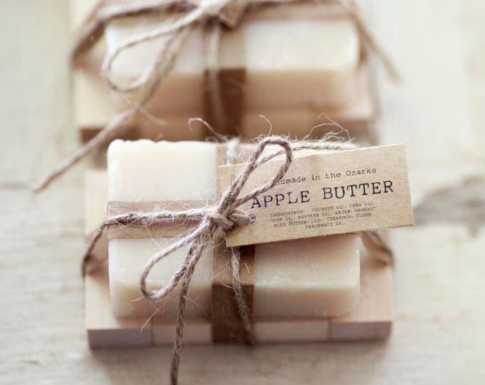APPLE BUTTER Soap |Apple, Clove, Cinnamon Soap Bar, Moisturizing Soap, Bar Soap, Rustic Gift, Wedding Favor, Gift Set, Wooden Holder