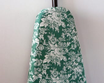 Ironing Board Cover - green and white toil look roses and flowers decor