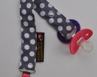 Gender Neutral  Soother Clip in Grey Gray White Polka Dot and Hot Pink Clip