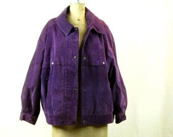 Vintage 1980s Purple Jewel Tone Suede Jacket Large