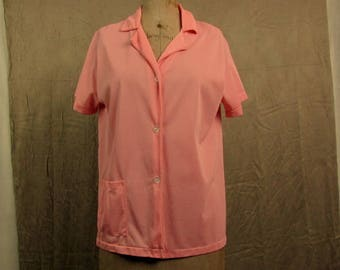 Vintage Peachy Pink Lolli-Jamas Nylon Button Front Pajama Top ~ Pocket ~ Bust 34
