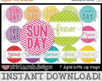 "20% OFF Days of the Week 2 - Chevron & Dots - INSTANT DOWNLOAD 1"" Bottle Cap Images 4x6 - 588"