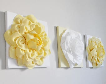 Bathroom Art Print Set Wall Decor Relaxing Art Flowers Pale Yellow Gray Set of 3 Print / CANVAS Custom Colors Flower Burst Yellow Nursery