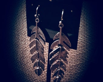 Distressed Silver Feather Dangle Earrings