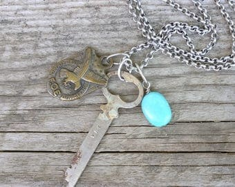 eagle's nest necklace | vintage Fraternal Order of Eagles medal | vintage key