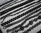Vintage Black Beaded Trim Lace Trim 11 Pieces