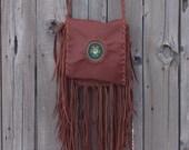 Fringed leather handbag , boho beaded turtle bag , boho style purse , gypsy beaded turtle bag , turtle totem bohemian bag