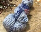 2:12 AM - Hand Dyed yarn, MCN 80/10/10 yarn, superwash merino wool, cashmere, nylon fingering weight, grey, navy blue, red speckled