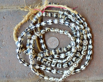 Ghana Bone Beads: Batik 3 Strands