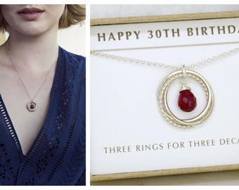 30th birthday gift idea, ruby necklace, July birthday gift, July birthstone jewellery milestone gift - Lilia