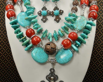 Southwest Western Necklace Set - Howlite Turquoise Necklace Set - Cowgirl Western Necklace - Chunky Southwestern Jewelry - SOUTHWEST GLAMOUR