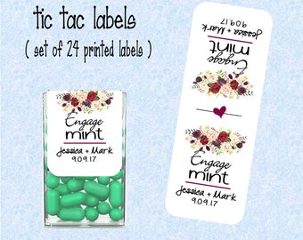 Engagement Favor, Engage mints tic tac labels, stickers customized -  (set of 24 printed labels) -  TIC78854 floral flower