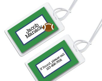 personalized bag tag for luggage, backpacks, lunch boxes and more, green and blue with football graphic