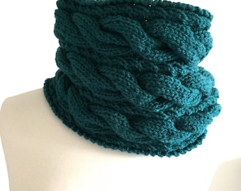 Cowl hand knitted scarf vegan cowl