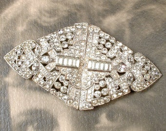 Art Deco HaiR CoMB OR Sash Brooch Antique 1920 Large Rhinestone Vintage Wedding Dress Clips Bridal HeadPiece Paste Gatsby Hairpiece Duette