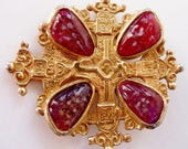Accessocraft vintage brooch pin |  maltese cross | St George cross | large gold cross | goldtone vintage old jewelry | statement design NYC