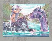 MerMay Day 17 - Original ACEO, watercolor painting