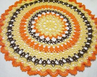 Thanksgiving/harvest/fall/autumn colors large centerpiece crocheted doily home decor handmade in USA original design