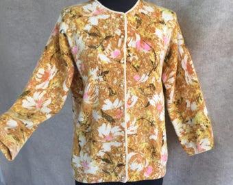 RESERVED ...Vintage 60's Cardigan Sweater, DARLENE Cardigan, Yellow, Pink, Cream Floral, Mid Century, Size Medium, Bust 41, 50's Rockabilly