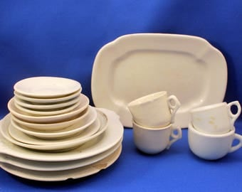 Antique Toy Dishes White Ironstone Plates Cups & Saucers J G Meakin Platter 17 Pieces Victorian Shabby
