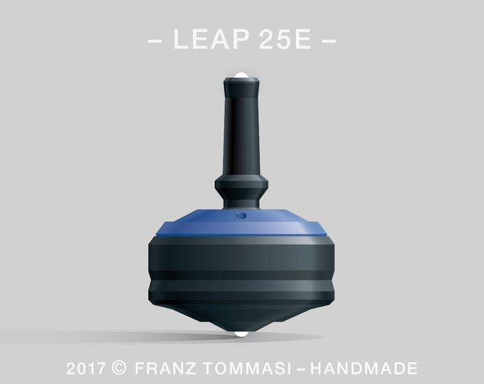 LEAP 25E Blue-on-Black Spin Top with rubber grip, dual ceramic tip, two-part body, and accent holes (3)