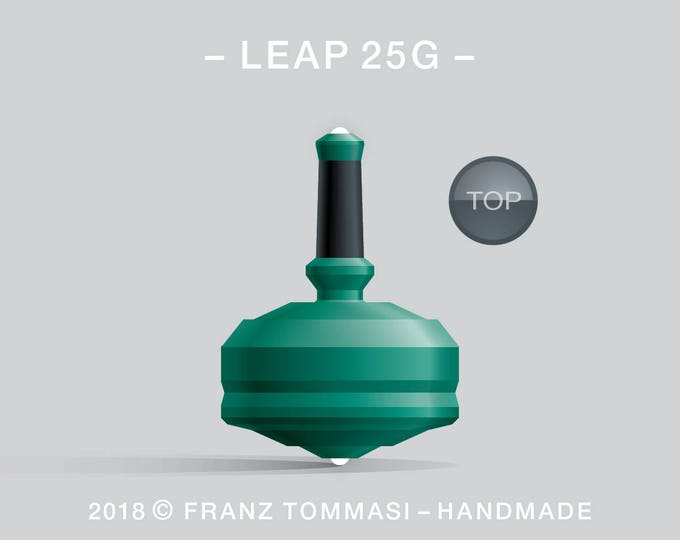 LEAP 25G Green – Precision handmade spin top with dual ceramic tip and integrated rubber grip