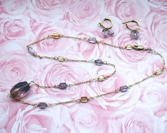 14K Gold Filled Necklace & Earrings Set With Amethyst and Citrine Stones