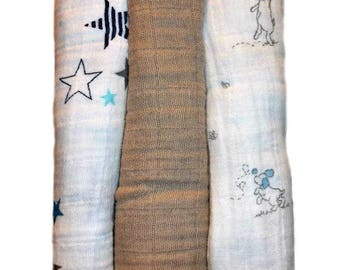 Preemie Baby Boys' 100% Cotton Double Gauze Muslin Receiving Blankets - Star and Puppies Set of 3 Gauze Blankets